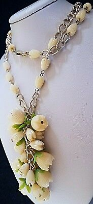 Vintage Signed Hong Kong Celluloid Rose Flower Carved Necklace Beaded Jewelry