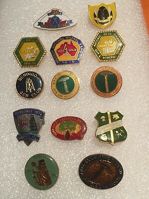 Group Of 13 Australian Prospecting And Lapidary Badges. 1970s plus