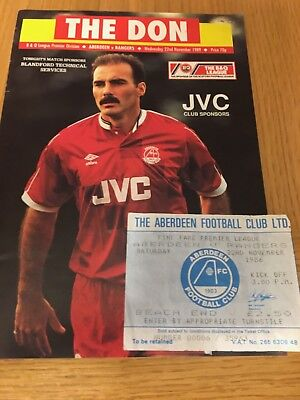 ABERDEEN v RANGERS 22.11.1989 and ticket 22.11.1986