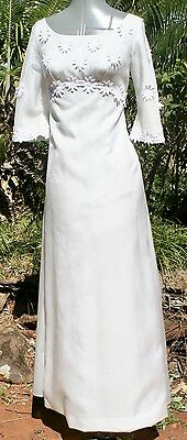 VINTAGE WEDDING Debut DRESS 1970s size 8 Crystal Organza  and guipure Lace Train