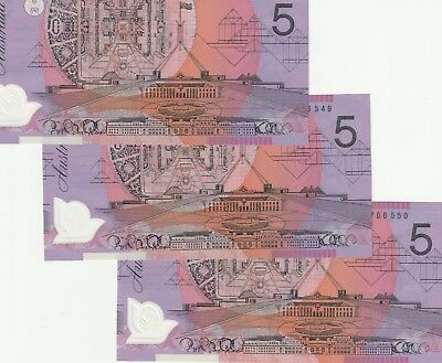 3 x 2015 consecutive $5 notes  UNCIRCULATED CL15766549