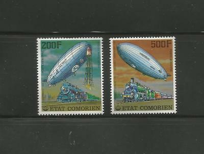 Comores - 2 Feuillets + 2 Timbres Neufs** N° 121/122 - Pa -1977 - Espace/train