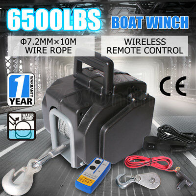 6500LBS/ 2946KG Electric Boat Winch Portable Detachable 4WD 4x4 Trailer 12V ATV