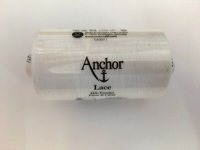900m Reel Of Anchor Lace 40 White 100% Cotton For Lace Making/Crochet/Tatting