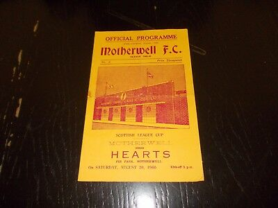 Motherwell v Hearts  20th Aug 1960  Scottish League Cup