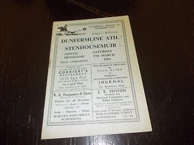 Dunfermline Athletic v Stenhousemuir  17th March 1951  Scottish League Div 2