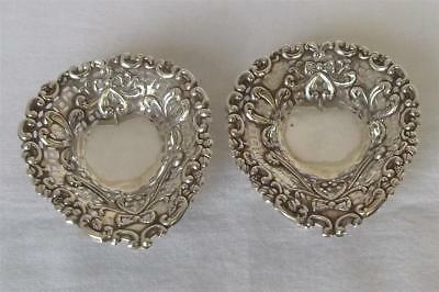 A Fine Antique Pair Of Solid Sterling Silver Heart Shaped Victorian Dishes 1895.