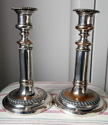 Pair Antique Silver Plate on Copper Gadrooned Telescopic Candlesticks  C 1890