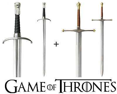 GAME OF THRONES - LONGCLAW + ICE, FATHER and SON BUNDLE (with FREE wall plaques)