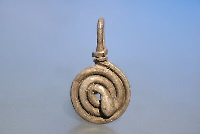 Interesting Ancient Viking Silver Snake Amulet 600-900 AD