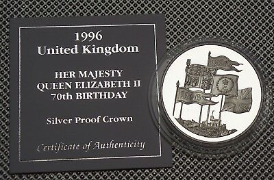 1996 Royal Mint  Silver Proof £5 Coin Queens 70Th Birthday & Cert
