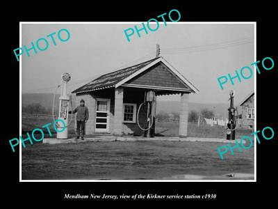 OLD LARGE HISTORIC PHOTO OF MENDHAM NEW JERSEY, SINCLAIR SERVICE STATION c1930