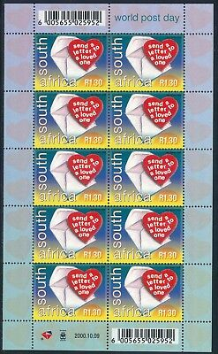 "South Africa 2000 ""World Post Day"" Sheet of (10) x R1.30 stamps"