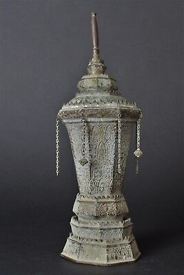 Vintage Late 19th. Century Bronze Urn from Thailand lovely Green Patina