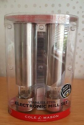 Cole & Mason Electronic Salt and Pepper Mill Gift  - Stainless with light bnib
