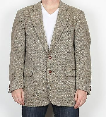 "Harris Tweed 42"" Medium Large  Jacket Blazer Brown Beige   (85E)"