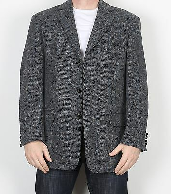 "Harris Tweed 42"" Medium Large Jacket Blazer Blue Grey (F3K)"