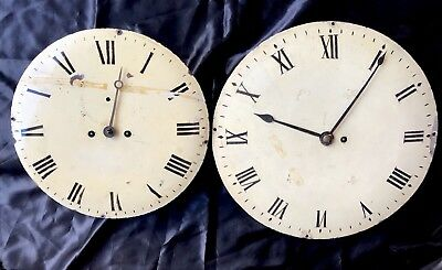 Antique Grandfather Clock Dials And Movements X2 For Long Case
