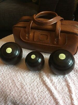 Vintage Wooden Crown Green Bowls With Jack And Bag