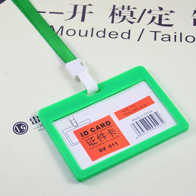 1pc Green Business ID Name Card Working Card Holder Badge with Lanyard