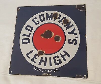 Rare Orig Old Company's porcelain Lehigh, Coal Advertising Store Sign