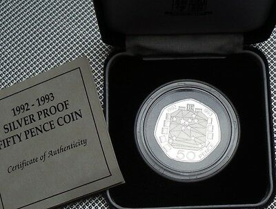 ROYAL MINT 1992-1993 Silver Proof Fifty Pence 50p EEC WITH CASE & COA RARE