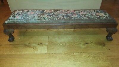 A Georgian long footstool with tapestry covering in lovely original condition