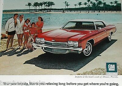 1972 Chevrolet ad, Chevy Impala 2-door, Miami Beach