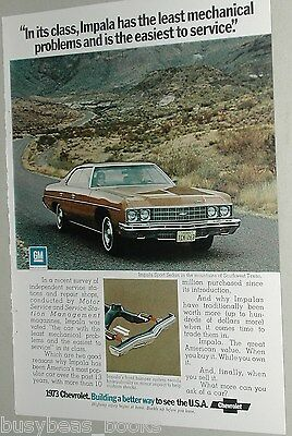 1973 CHEVROLET IMPALA advertisement, Chevrolet Impala Sport Sedan ad, Chevy