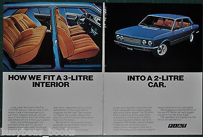 1977 FIAT 132 2-page advertisement, model 132 sedan color photos European advert