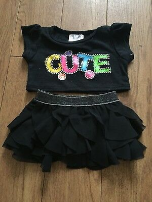 Build A Bear Clothes, black top and skirt.