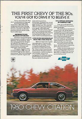 1980 CHEVROLET CITATION advertisement, CHEVY ad, Citation 2-door hatchback
