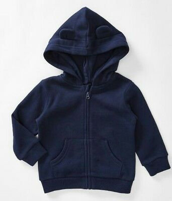 NEW Baby Blue Jacket Hood with ears Boy Girl 00 3-6 months Warm Zip up Hoodie