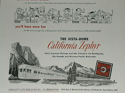 1951 Western Pacific ad, California Zephyr, BN WP D&RGW
