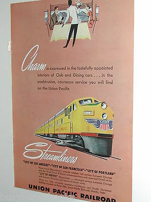 1949 UNION PACIFIC RR advertisement, UP Streamliner train, diesel engine