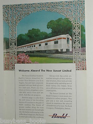1950 Budd Co. ad, Southern Pacific Sunset Limited cars