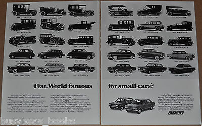 1976 Fiat 2-page advertisement, FIAT, with 1906 to 1969 models, European advert