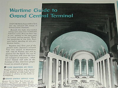 1943 NEW YORK CENTRAL RR advertisement, Grand Central Terminal NYC