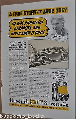 1937 Goodyear Tire advertisement, with ZANE GREY, western author