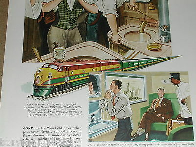 1949 Electro Motive Diesel advertisement, KANSAS CITY SOUTHERN Lines, washroom