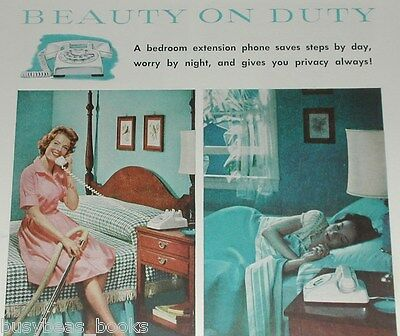 1959 Bell Telephone advertisement, HOUSEWIFE, bedside phone