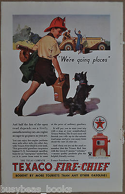 1934 Texaco advertisement, TEXACO Fire-Chief gasoline, boy with Scottie dog