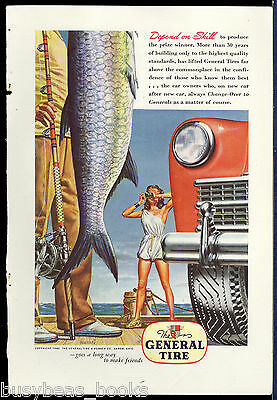 1946 GENERAL TIRE advertisement, fish, fisherman & female photographer