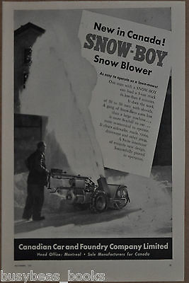 1951 SNOW-BOY snow blower advertisement, Canadian Car & Foundry, winter's coming