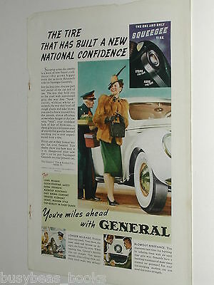 1939 General Tire ad, huge white-walls, color photo