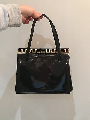 Black patent leather vintage handbag