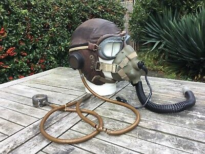 Air ministry  flying helmet,Gosport tubes,goggles and oxygen mask.