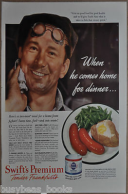 1942 SWIFT FRANKFURTS advertisement, home front, factory worker, sausages