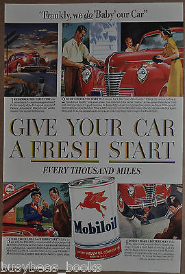 1941 MOBIL advertisement, Mobiloil, SOCONY, car care, oil change, oil tin