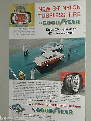 1956 Goodyear Tire ad, 3-T Nylon tire, braking test